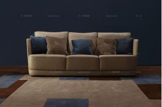 高端五星级酒店别墅家具品牌褐色布艺四位沙发