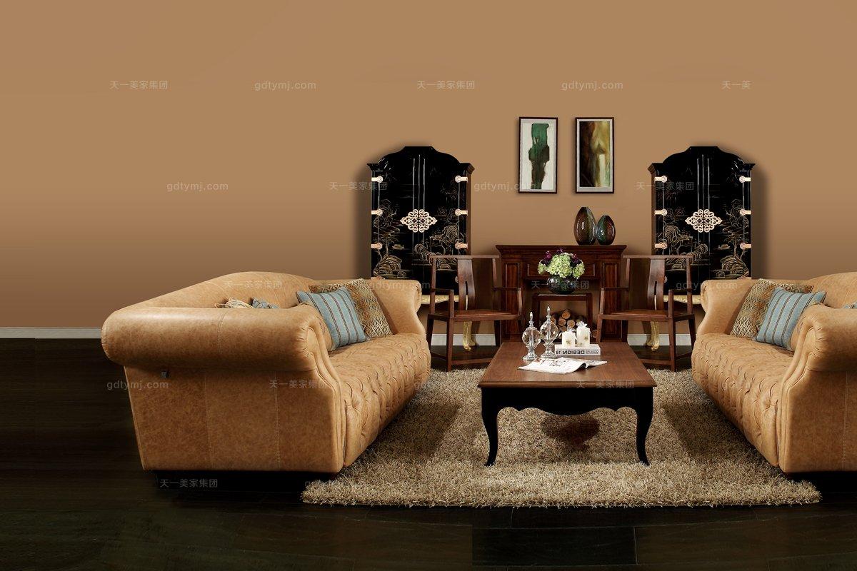 别墅五星酒店家具高档家具棕色真皮沙发