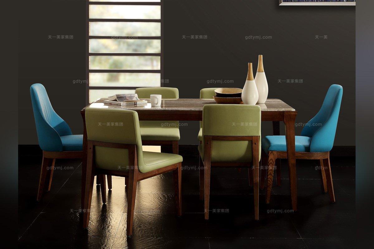 别墅会所万博手机网页实木大理石面长餐桌
