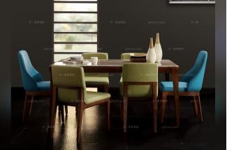 别墅会所家具实木大理石面长餐桌