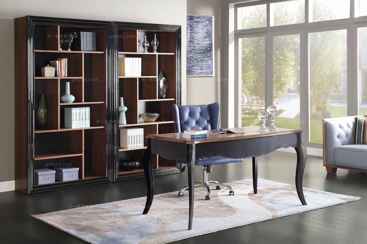 名贵别墅会所万博手机网页高端实木书桌椅书柜