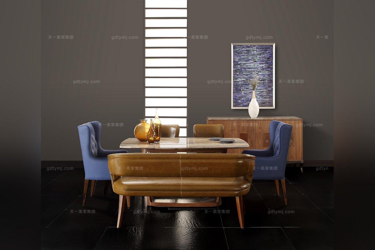 高端会所样板房万博手机网页实木真皮餐桌椅