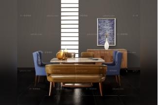 高端会所样板房家具实木真皮餐桌椅