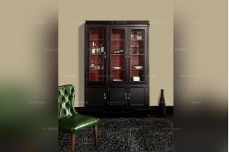 高端会所样板房家具黑色实木酒柜
