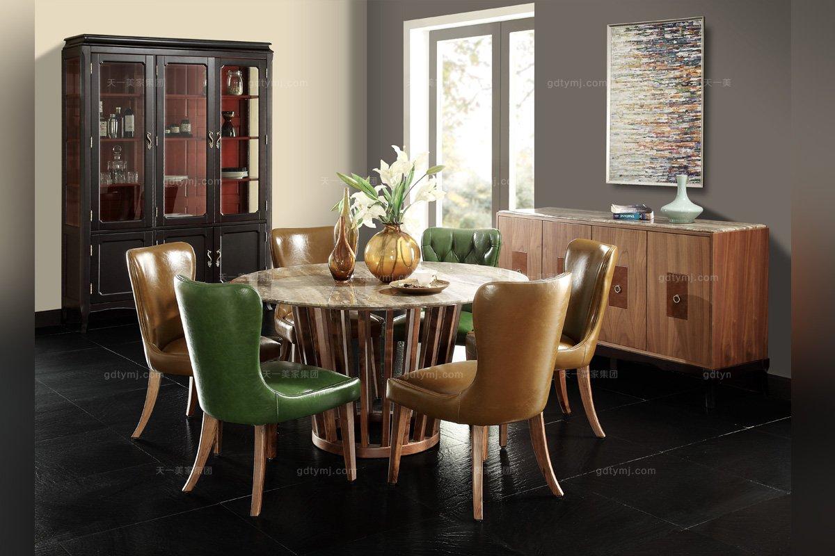 名贵别墅万博手机网页大气实木真皮大理石面餐桌椅