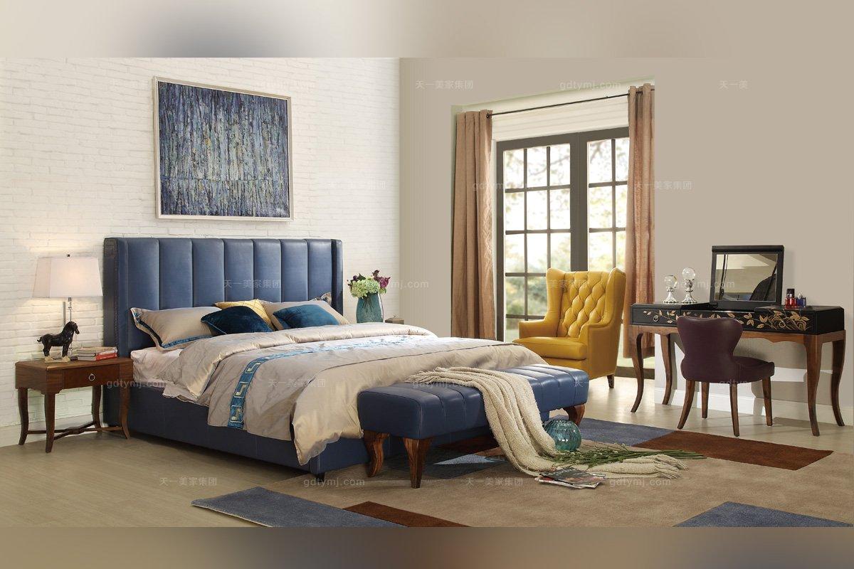 高端大气别墅家具蓝色真皮软包大床