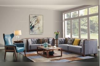 名贵奢华五星级酒店别墅家具实木真皮沙发系列