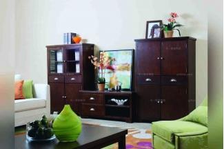 高端别墅豪宅家具实木美式电视柜组合