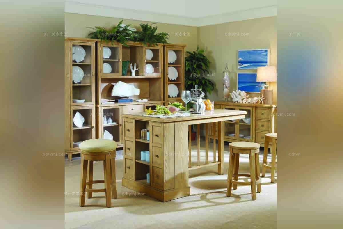 高端样板房家具美式实木吧台