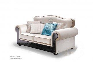 名贵别墅后现代白色布艺二人位沙发