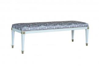 高端家俱样板间家具品牌别墅法式贝母漆床尾凳