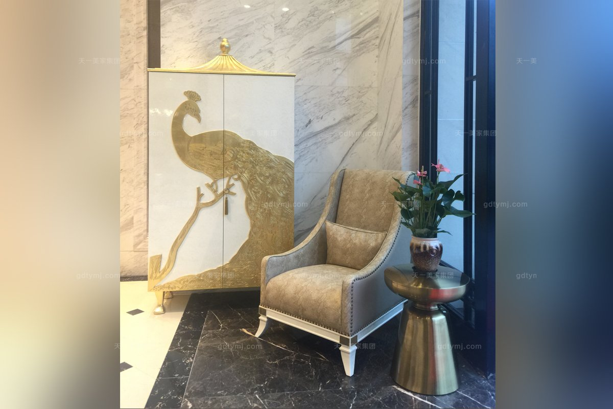 五星级酒店万博手机网页高端家俱工程法式贝母漆装饰柜