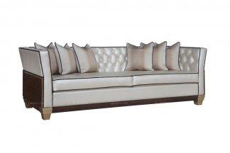 名贵别墅豪宅家具会所家具品牌法式咖啡色三人位沙发