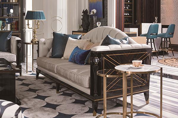 高端现代轻奢沙发实木客厅沙发 黑檀木皮拼花真皮沙发组合三人沙发