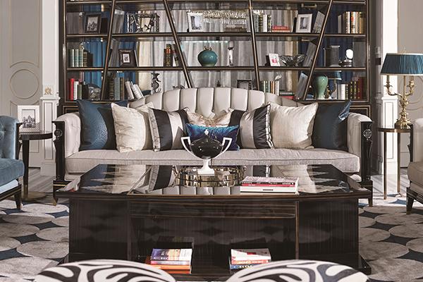 高端现代轻奢沙发实木客厅沙发 黑檀木皮拼花真皮沙发组合四人沙发
