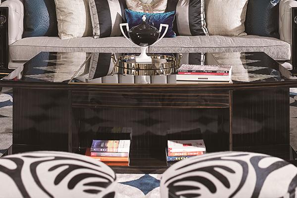 高端现代轻奢沙发实木客厅沙发 黑檀木皮拼花真皮沙发组合茶几