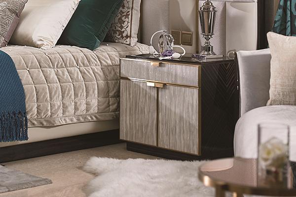 高端现代轻奢大床实木卧室双人床黑檀木皮拼花真皮大床