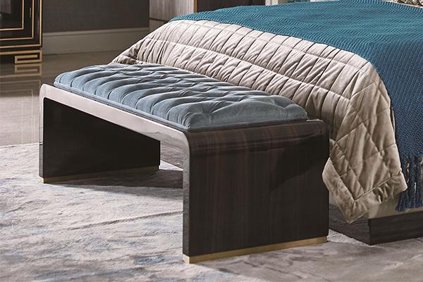 高端现代轻奢大床实木卧室双人床黑檀木皮拼花真皮大床床尾凳