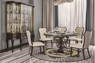 高端现代轻奢主义实木餐厅家具黑檀木皮拼花真皮餐桌餐椅