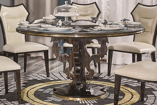 高端现代轻奢主义实木餐厅家具黑檀木皮拼花真皮餐桌餐椅圆餐桌
