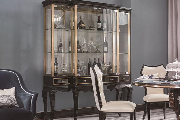 高端现代轻奢主义实木餐厅家具黑檀木皮拼花真皮餐桌餐椅酒柜