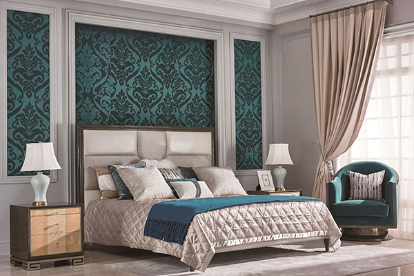 高档现代轻奢床实木卧室大床枫影木皮拼花真皮床卧室系列