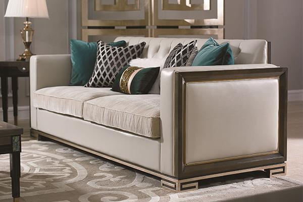 高端现代轻奢沙发实木客厅沙发金属金属铜钉不锈钢真皮沙发三人沙发