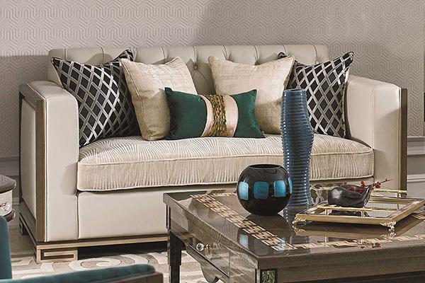 高端现代轻奢沙发实木客厅沙发金属金属铜钉不锈钢真皮沙发