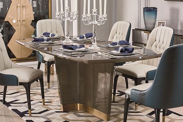 高端轻奢现代餐桌实木餐厅餐椅灰色木皮拼花贴箔餐桌椅组合长餐桌