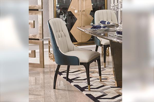 高端轻奢现代餐桌实木餐厅餐椅灰色木皮拼花贴箔餐桌椅组合餐椅