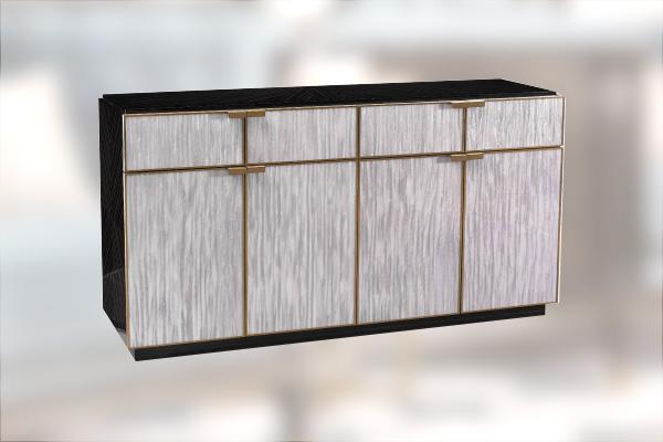 高端轻奢现代餐桌实木餐厅餐椅灰色木皮拼花贴箔餐桌椅组合餐边柜