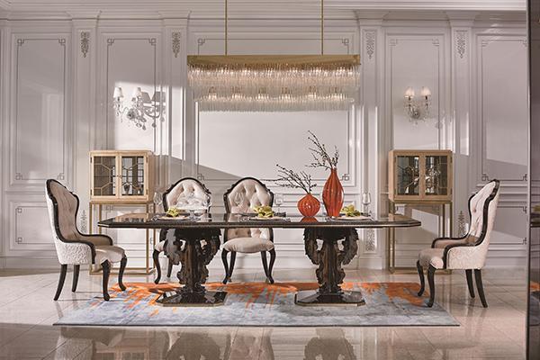 高端现代轻奢华餐厅家具实木餐厅餐桌黑檀木皮枫影木皮拼花真皮餐椅餐桌组合