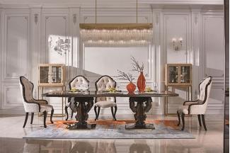 高端現代輕奢華餐廳家具實木餐廳餐桌黑檀木皮楓影木皮拼花真皮餐椅餐桌組合
