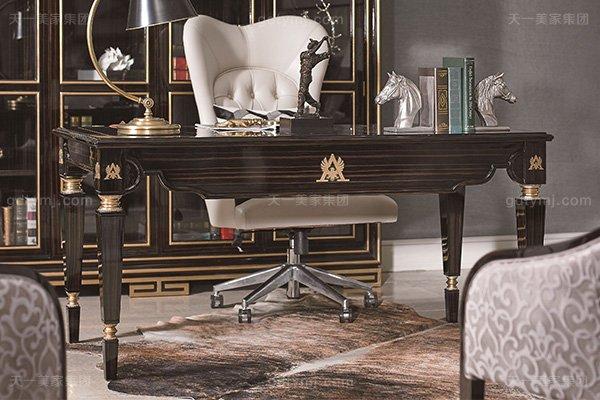 高端现代轻奢华书房万博手机网页实木书房书桌黑檀木皮拼花真皮书椅书桌组合书桌