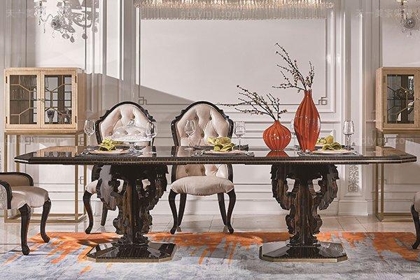高端当代轻豪华餐厅家具实木餐厅餐桌黑檀木皮枫影木皮拼花真皮餐椅餐桌组合长餐桌