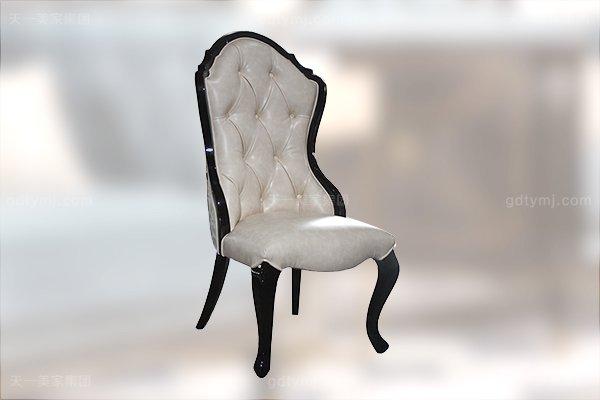 高端现代轻奢华餐厅家具实木餐厅餐桌黑檀木皮枫影木皮拼花真皮餐椅餐桌组合无扶手餐椅