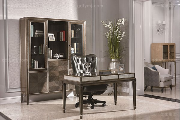 高端现代轻奢书房家具实木书房书桌灰色木皮拼花真皮书椅书桌系列