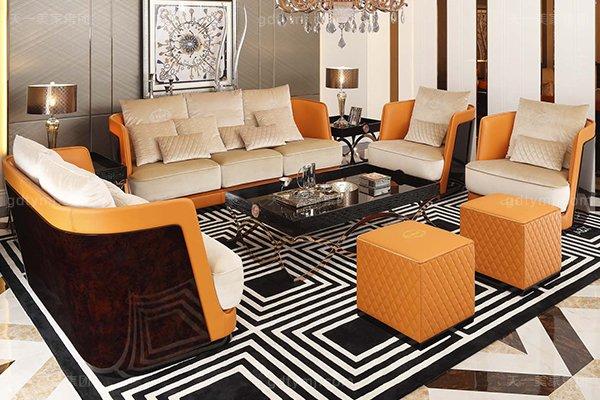 高端后现代轻奢客厅家具橙色皮桃木纹饰板真皮沙发组合