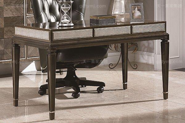高端当代轻奢书房家具实木书房书桌灰色木皮拼花真皮书椅书桌系列书桌