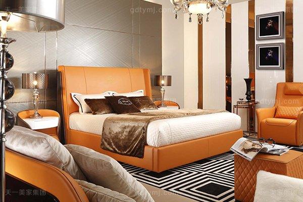 高端后现代风轻奢卧室家具橙色皮桃木纹饰板真皮卧室床组合
