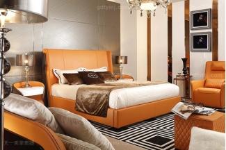 高端后现代风轻奢卧室万博手机网页橙色皮桃木纹饰板真皮卧室床组合