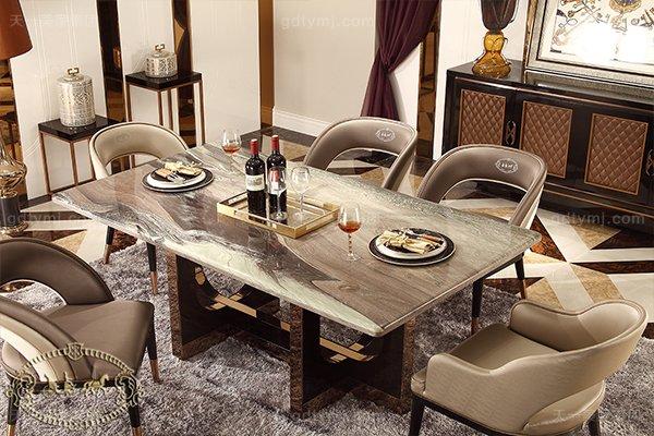 名贵后现代轻奢家具客厅餐桌椅山水紫石面餐桌拉丝纹真皮餐椅