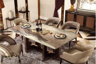 名贵后现代轻奢万博手机网页客厅餐桌椅山水紫石面餐桌拉丝纹真皮餐椅