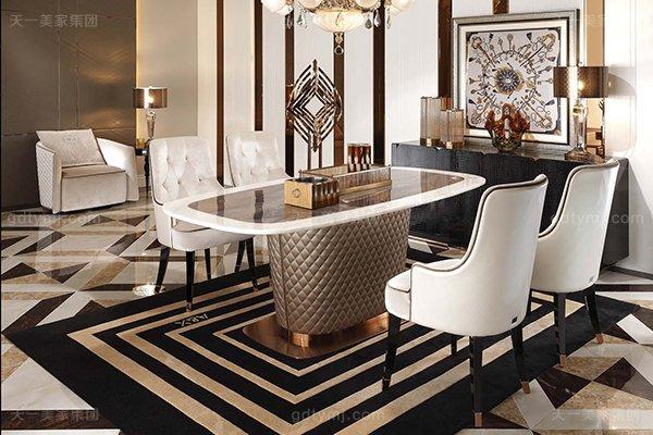 顶级后现代轻奢家具客厅餐桌椅山水紫拼面板餐桌白色绒布拉点餐椅
