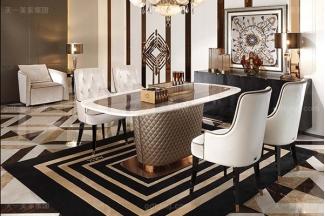 名贵后现代轻奢家具客厅餐桌椅山水紫拼面板餐桌白色绒布拉点餐椅