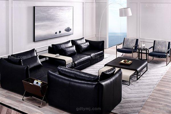 意大利极简奢当代风家具客堂沙发玄色真皮转角沙发组合