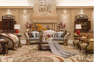 高端奢华新古典客厅家具实木雕花桃花芯直纹真皮沙发组合