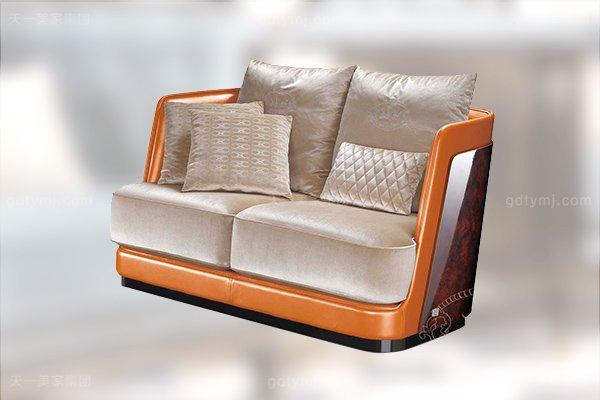 高端后现代轻奢客厅家具橙色皮桃木纹饰板真皮沙发组合二位沙发