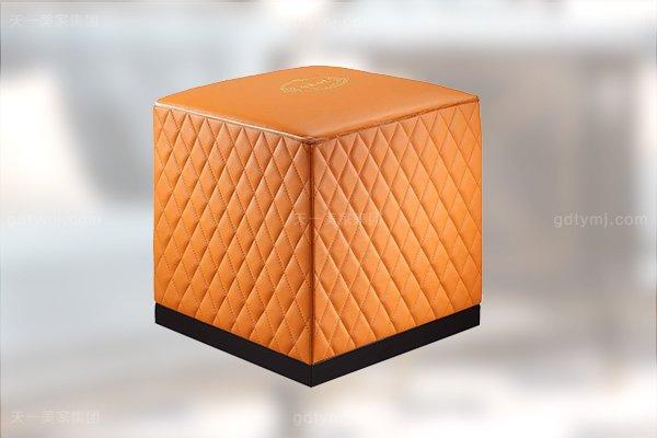 高端后现代轻奢客厅家具橙色皮桃木纹饰板真皮沙发组合小方凳