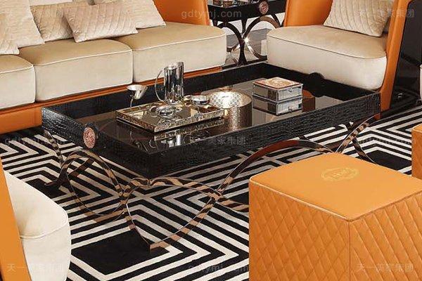 高端后现代轻奢客厅家具橙色皮桃木纹饰板真皮沙发组合长几